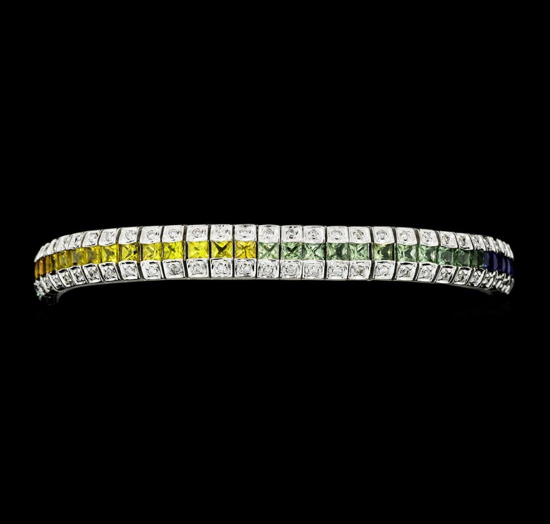 8.01 ctw Multi-Color Sapphire And Diamond Bracelet -