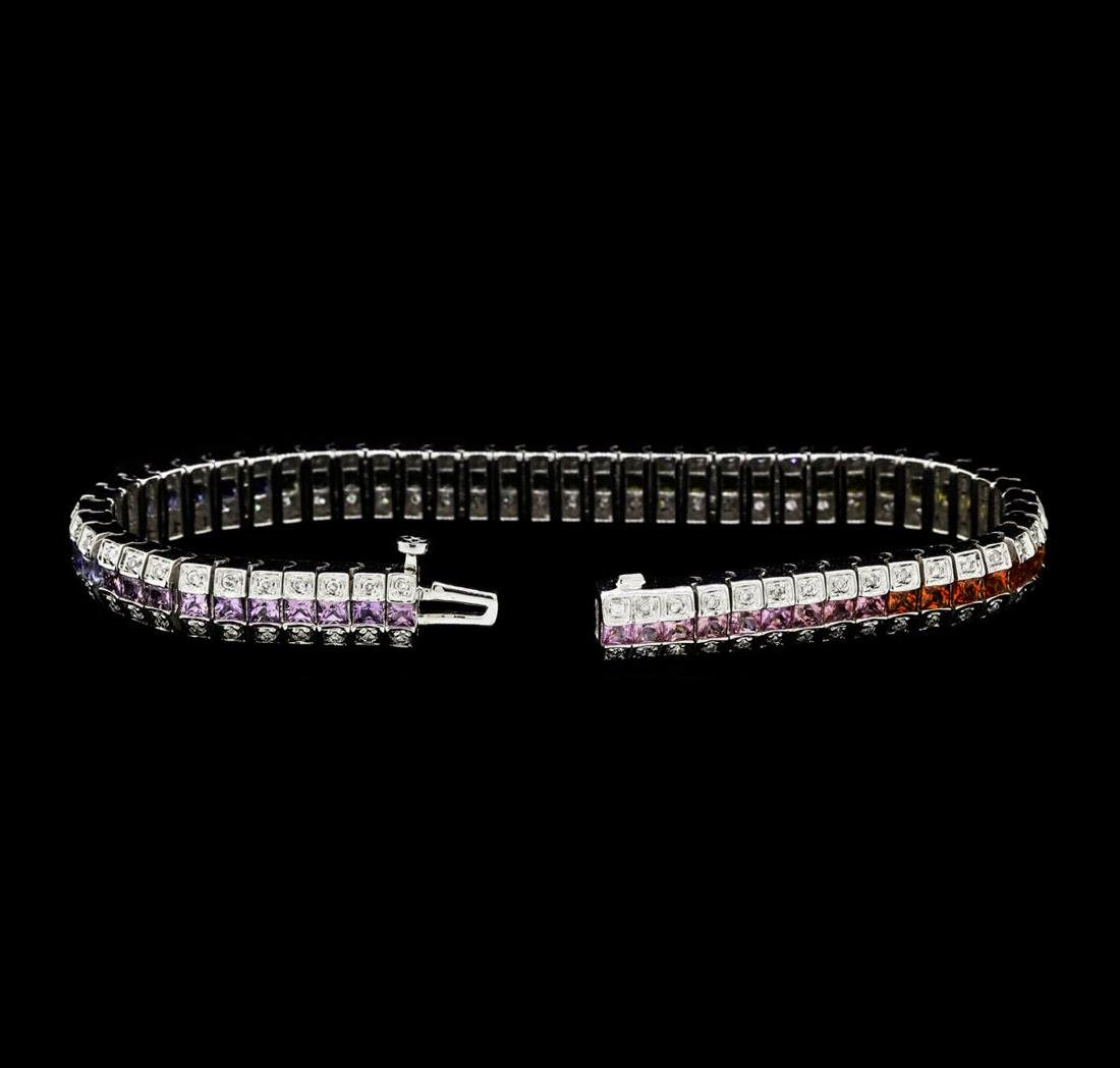 8.01 ctw Multi-Color Sapphire And Diamond Bracelet - - 4