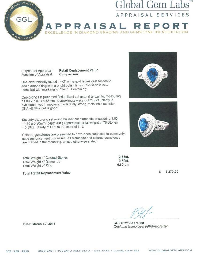14KT White Gold 2.35 ctw Tanzanite and Diamond Ring - 5