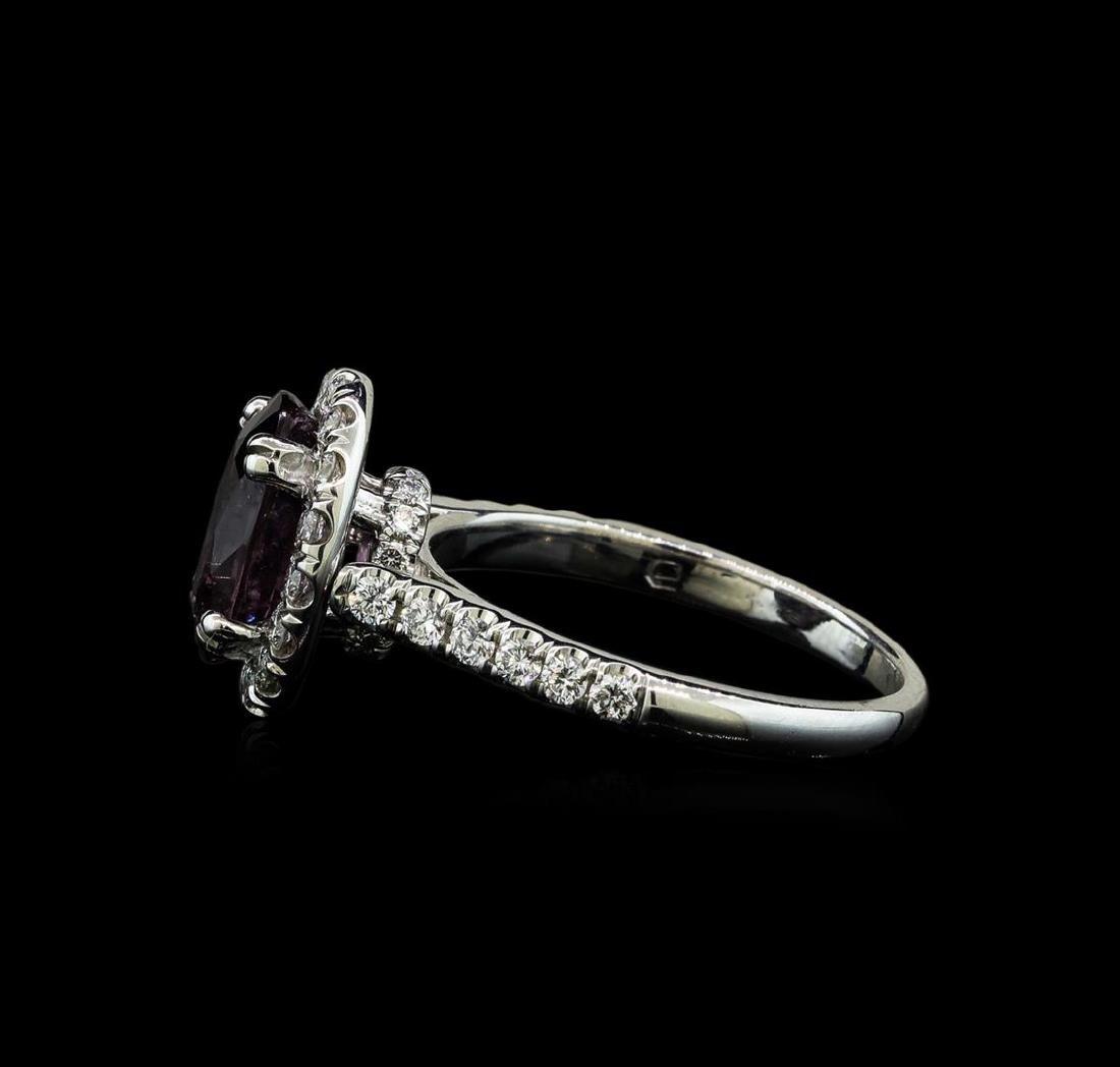 2.66 ctw Purple Sapphire and Diamond Ring - 14KT White - 3