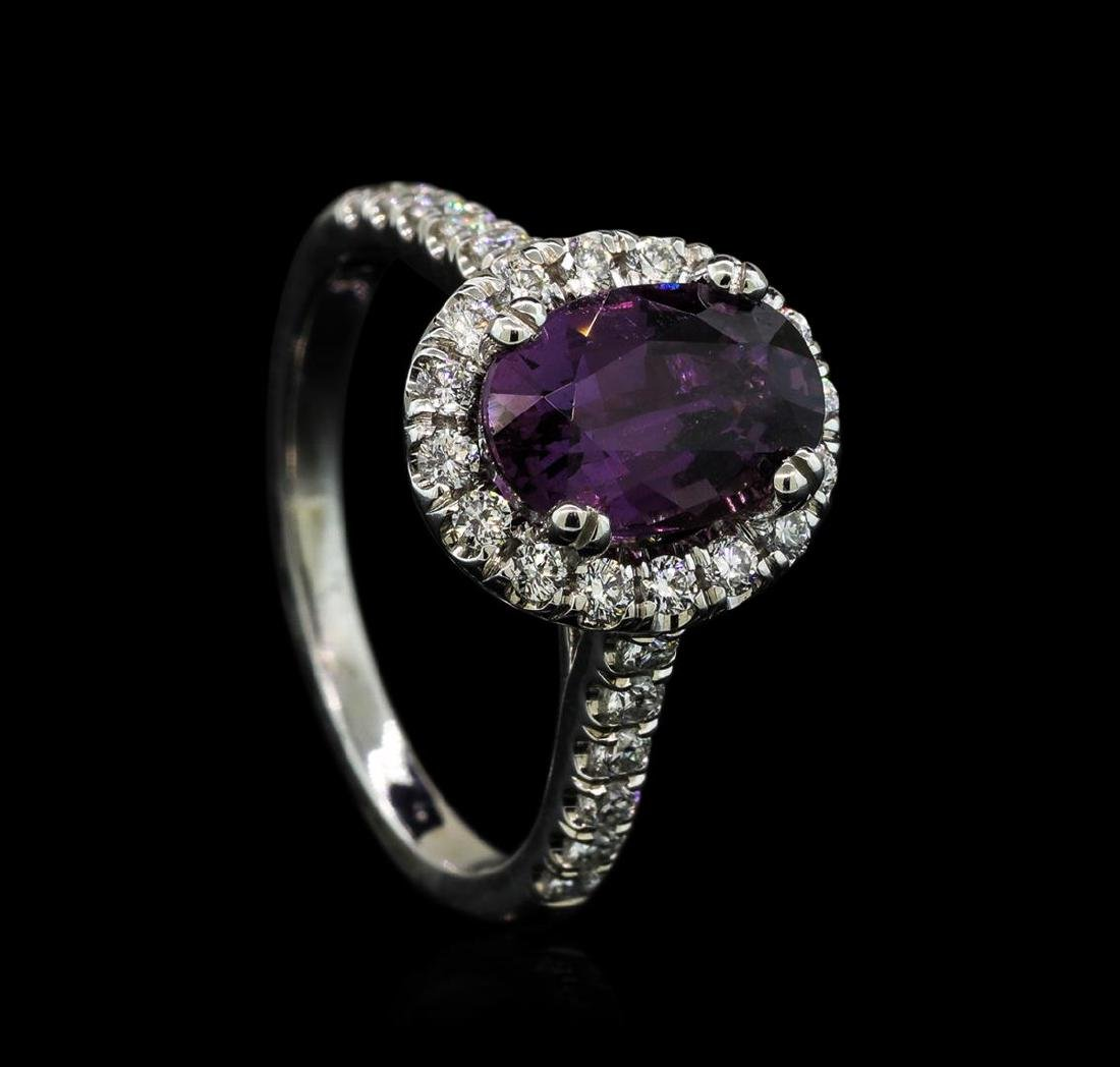 2.66 ctw Purple Sapphire and Diamond Ring - 14KT White - 4