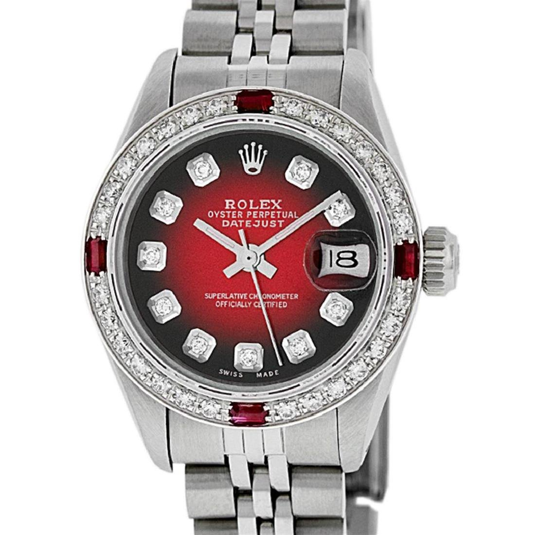 Rolex Ladies Stainless Steel Red Vignette Diamond & - 2