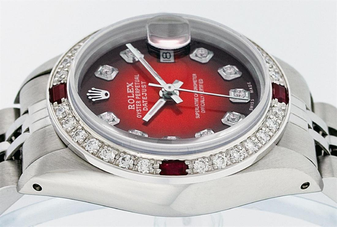 Rolex Ladies Stainless Steel Red Vignette Diamond & - 3
