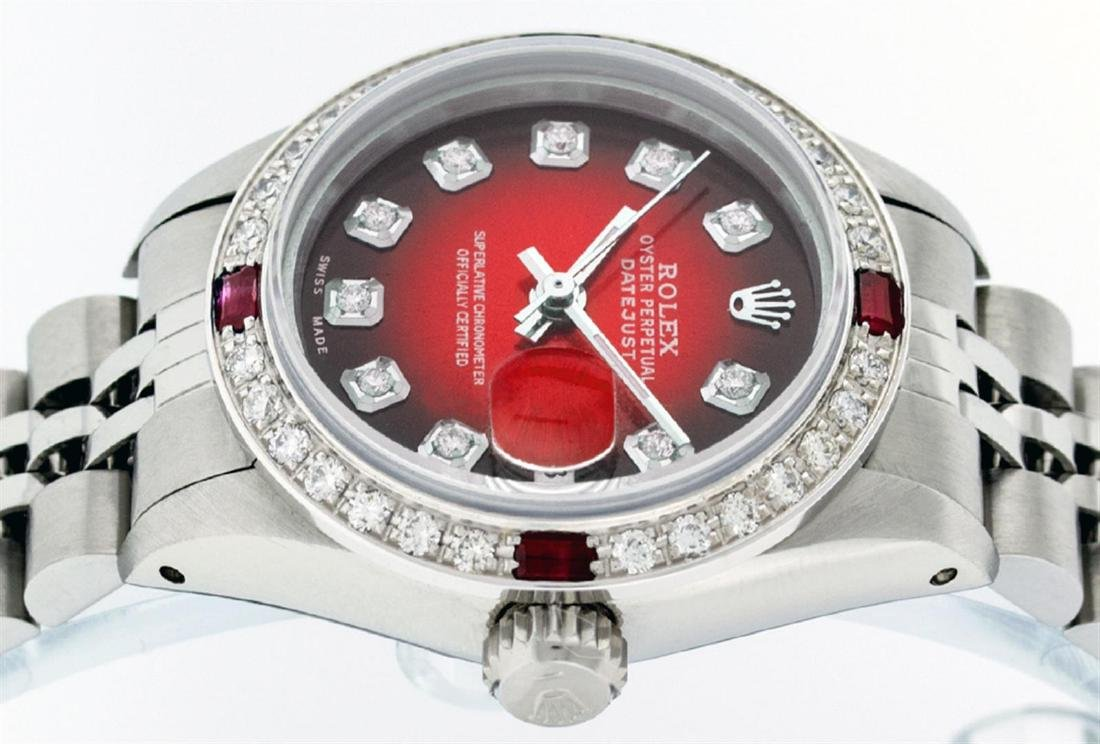 Rolex Ladies Stainless Steel Red Vignette Diamond & - 4