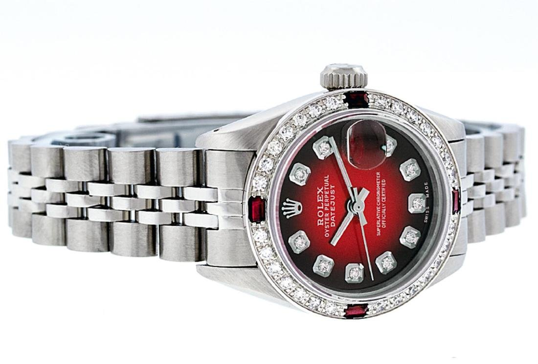 Rolex Ladies Stainless Steel Red Vignette Diamond & - 5