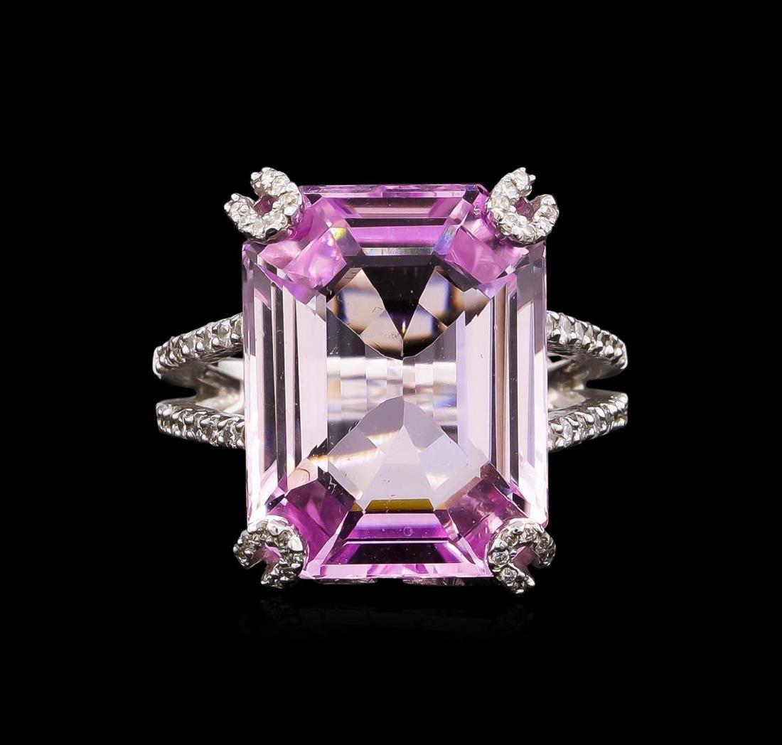 18.00 ctw Kunzite and Diamond Ring - 18KT White Gold - 2