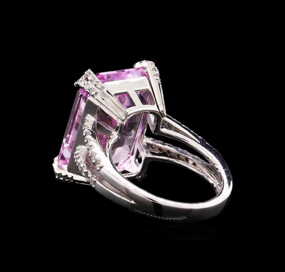 18.00 ctw Kunzite and Diamond Ring - 18KT White Gold - 3