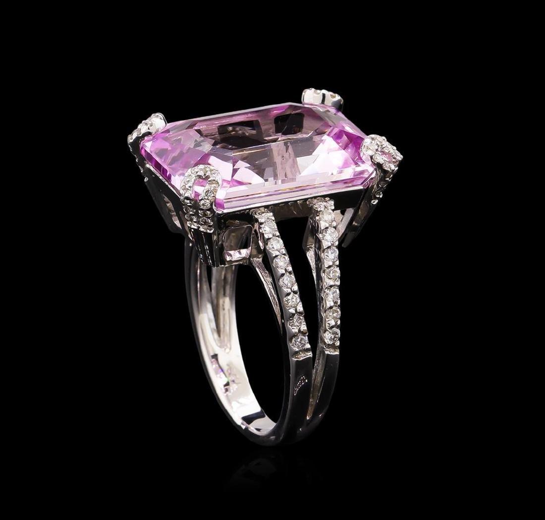 18.00 ctw Kunzite and Diamond Ring - 18KT White Gold - 4