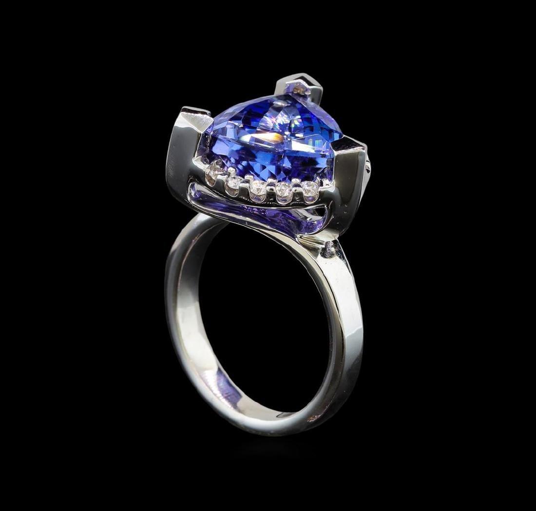 14KT White Gold 6.78 ctw Tanzanite and Diamond Ring - 4