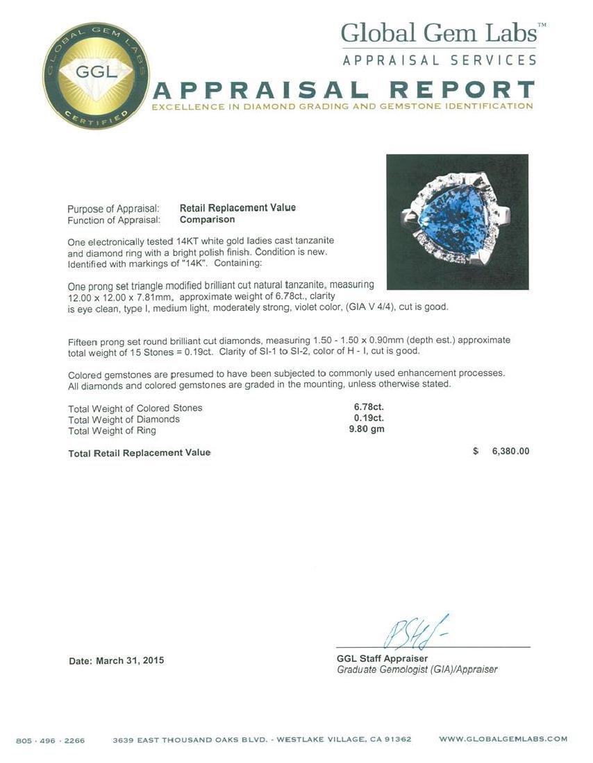 14KT White Gold 6.78 ctw Tanzanite and Diamond Ring - 5