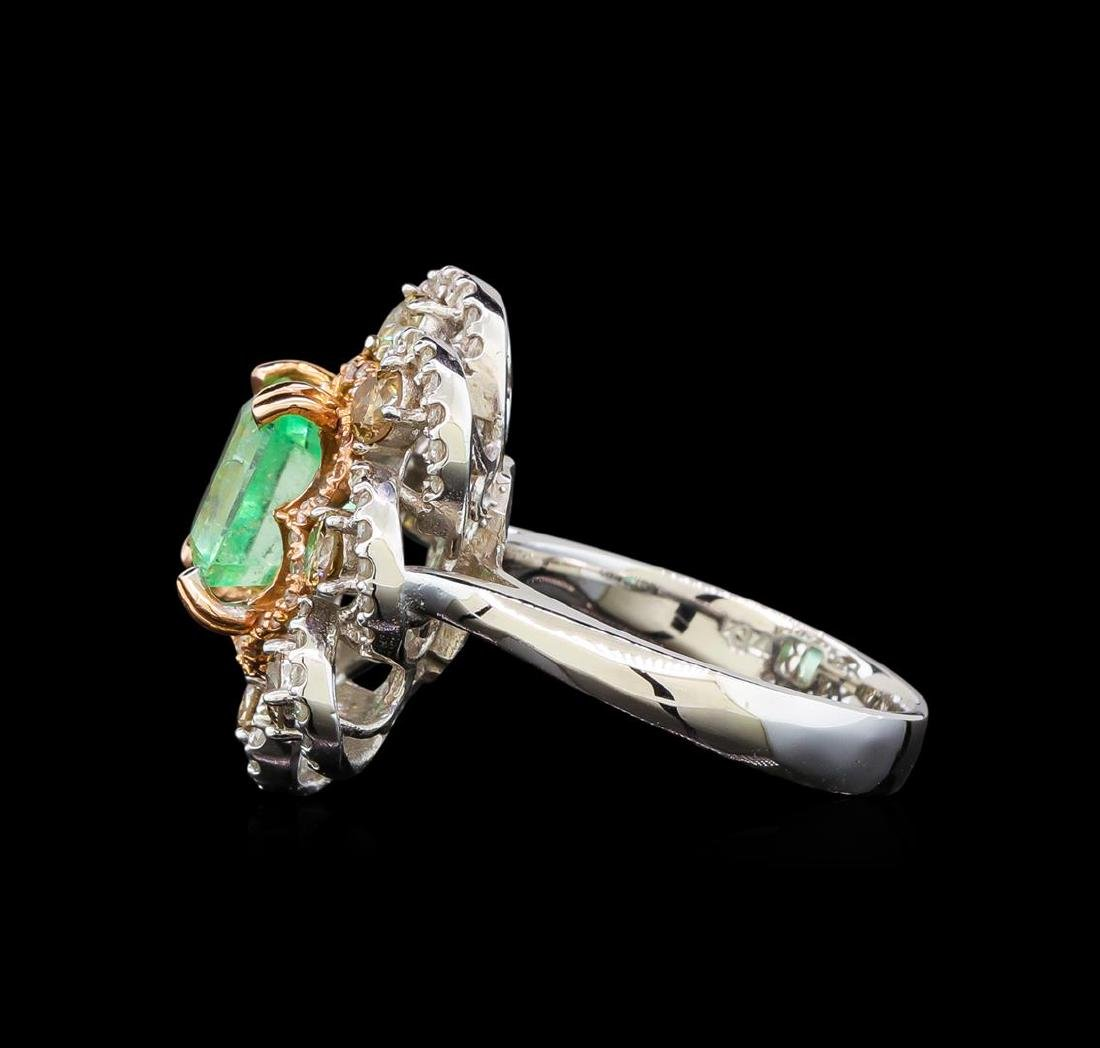 14KT White Gold 2.96 ctw Emerald and Diamond Ring - 3