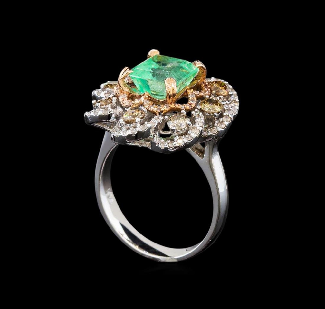14KT White Gold 2.96 ctw Emerald and Diamond Ring - 4