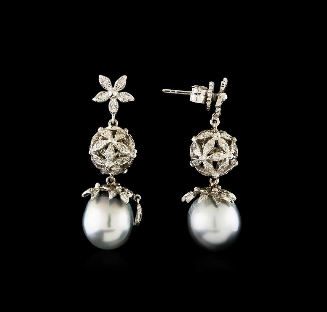 Tahitian Pearl and Diamond Earrings - 14KT White Gold - 2