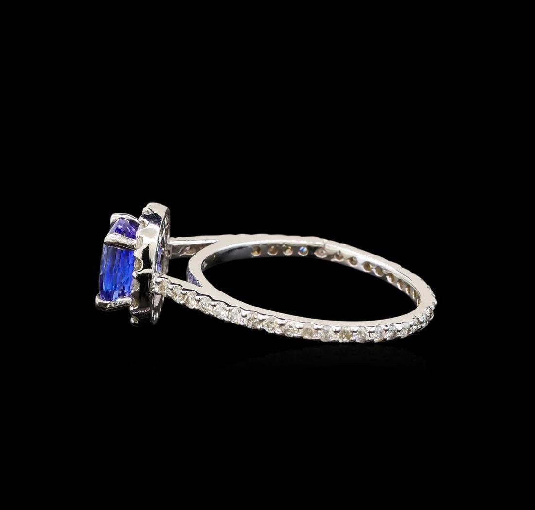 14KT White Gold 1.11 ctw Tanzanite and Diamond Ring - 3