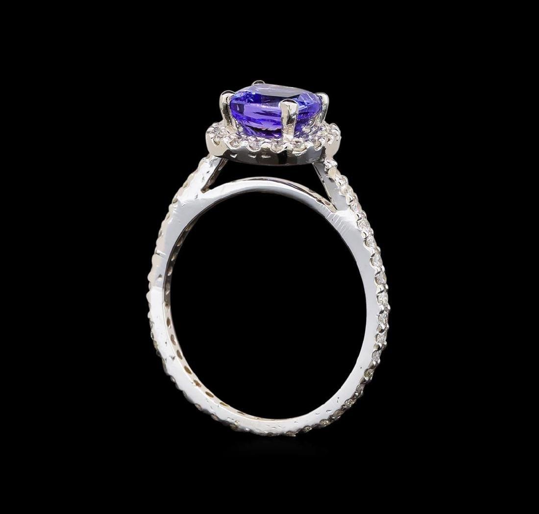 14KT White Gold 1.11 ctw Tanzanite and Diamond Ring - 4