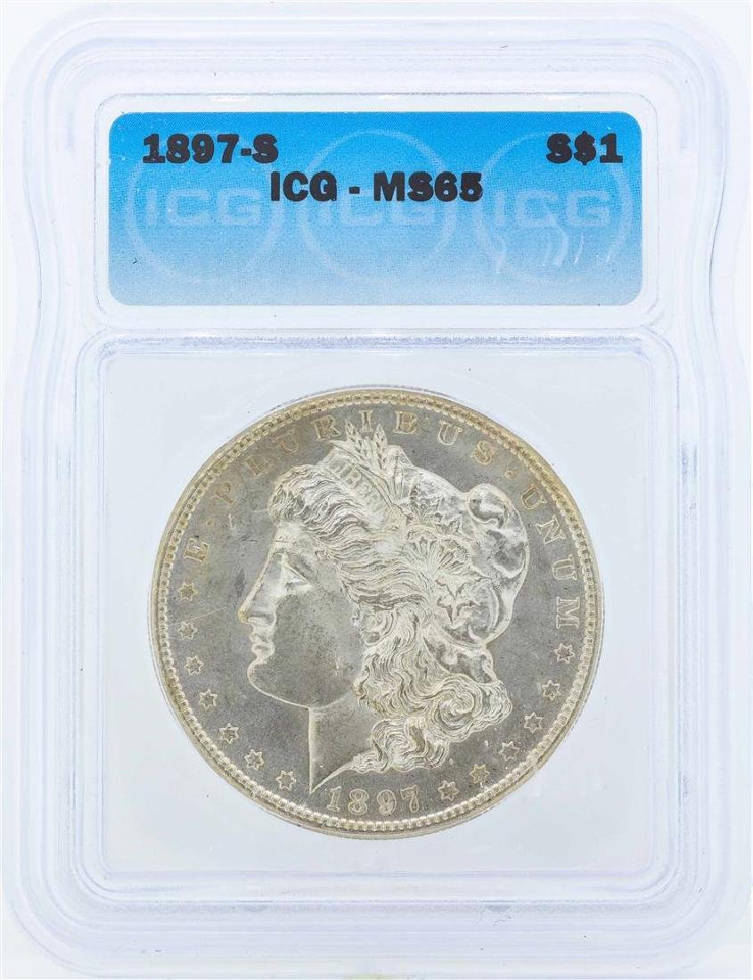 1897-S $1 Morgan Silver Dollar Coin ICG MS65