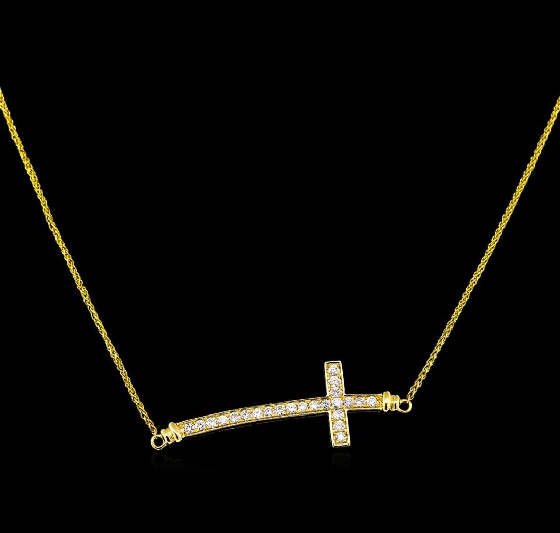 0.55 ctw Diamond Cross Necklace - 18KT Yellow Gold - 2