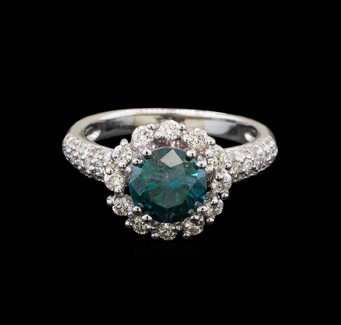 14KT White Gold 2.11 ctw Blue Diamond Ring - 2