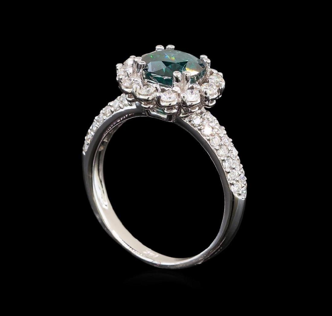 14KT White Gold 2.11 ctw Blue Diamond Ring - 4