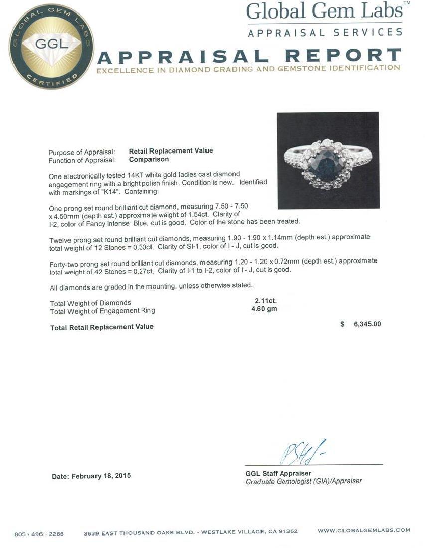 14KT White Gold 2.11 ctw Blue Diamond Ring - 5
