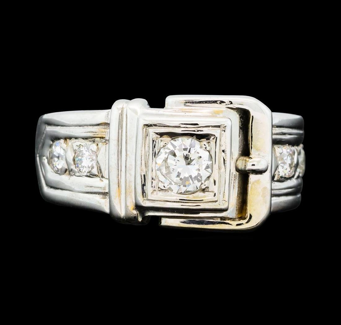 0.60 ctw Pave Set Buckle Design Ring - 14KT White Gold - 2