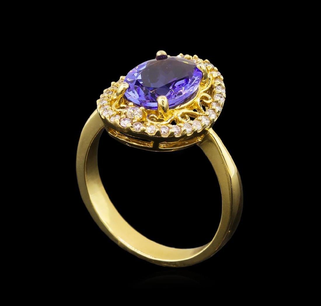 14KT Yellow Gold 2.45 ctw Tanzanite and Diamond Ring - 4