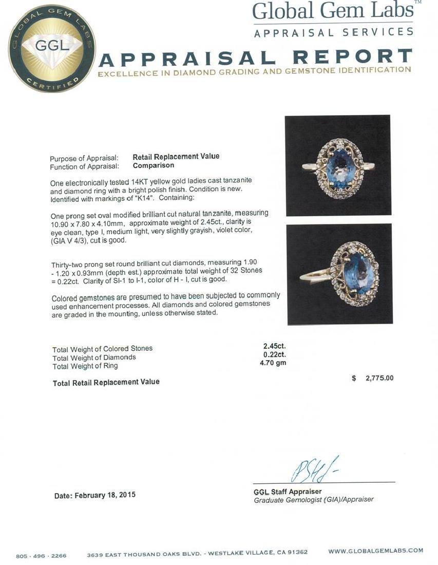 14KT Yellow Gold 2.45 ctw Tanzanite and Diamond Ring - 5
