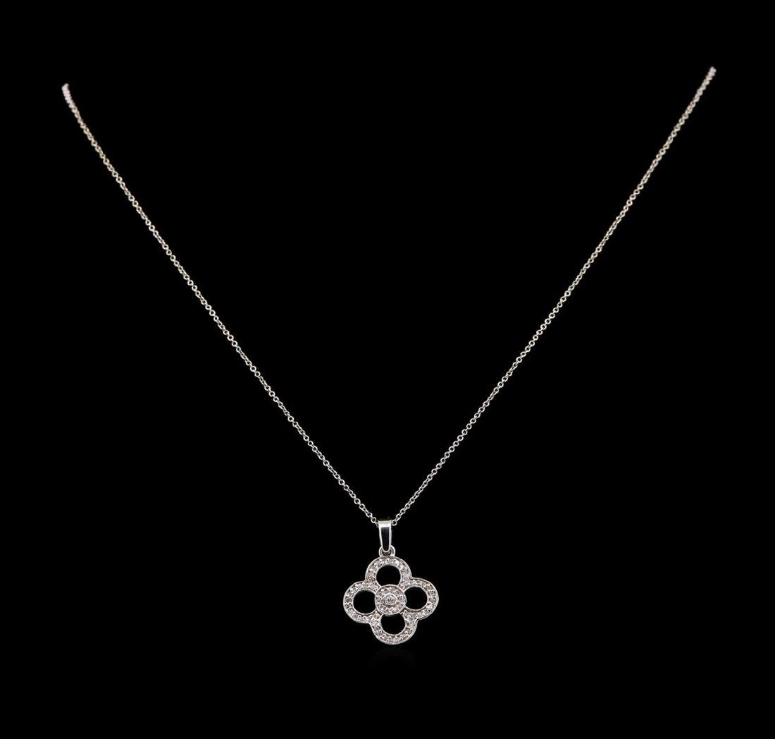 14KT White Gold 0.20 ctw Diamond Pendant With Chain - 2