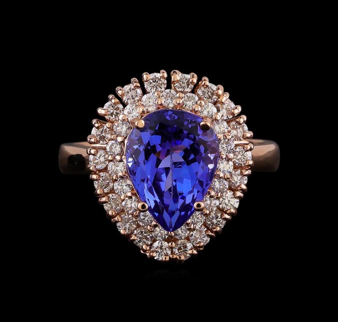 3.45 ctw Tanzanite and Diamond Ring - 14KT Rose Gold - 2