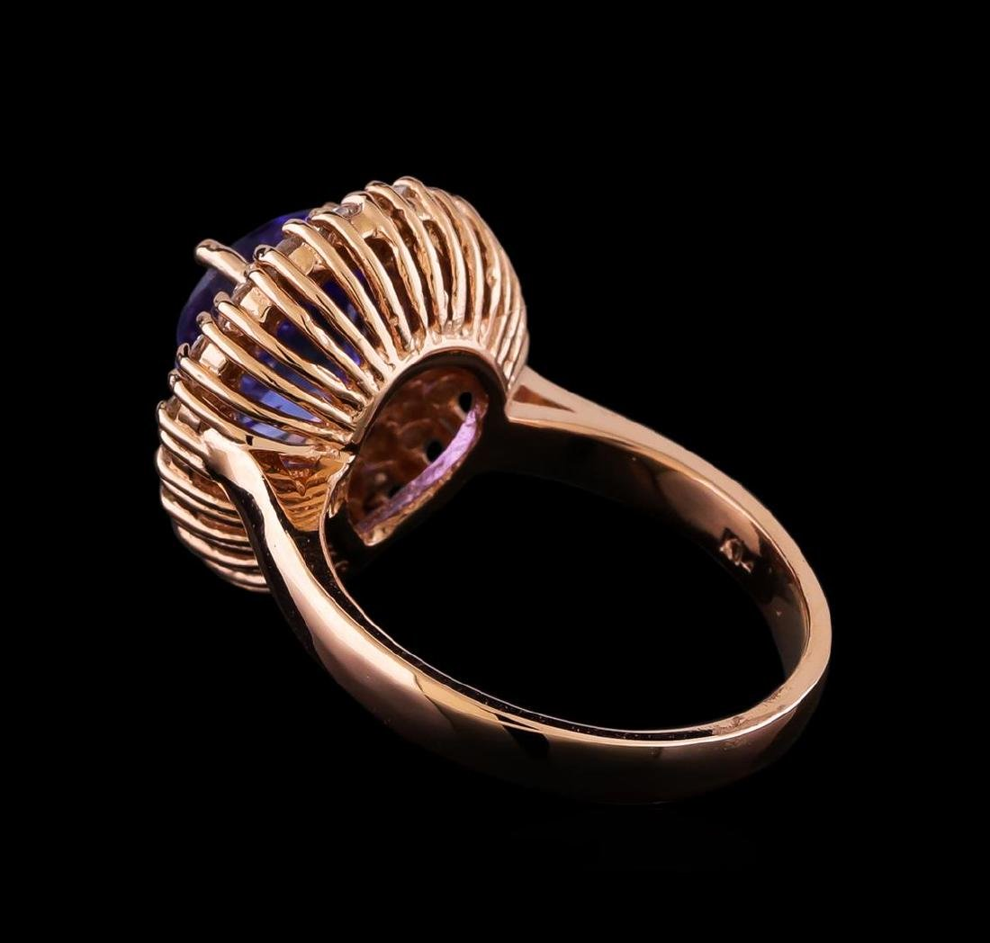 3.45 ctw Tanzanite and Diamond Ring - 14KT Rose Gold - 3