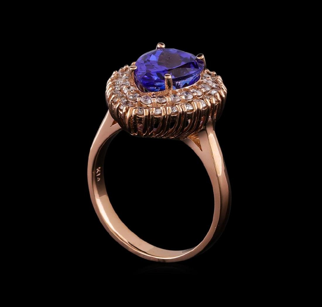 3.45 ctw Tanzanite and Diamond Ring - 14KT Rose Gold - 4