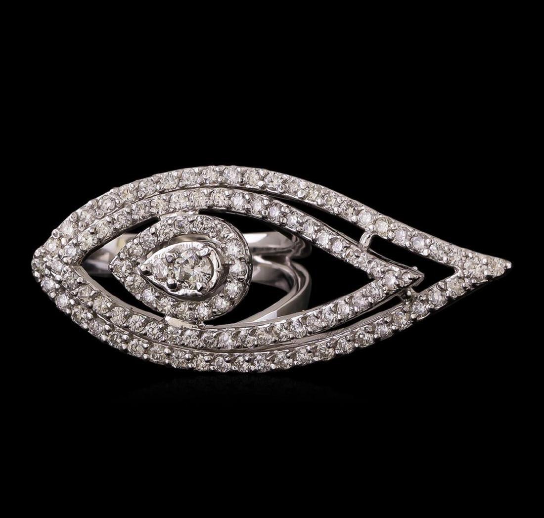14KT White Gold 0.98 ctw Diamond Ring - 2