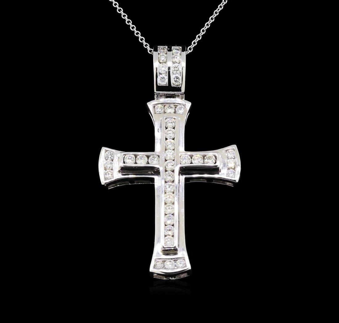 1.83 ctw Diamond Cross Pendant With Chain - 14KT White - 2