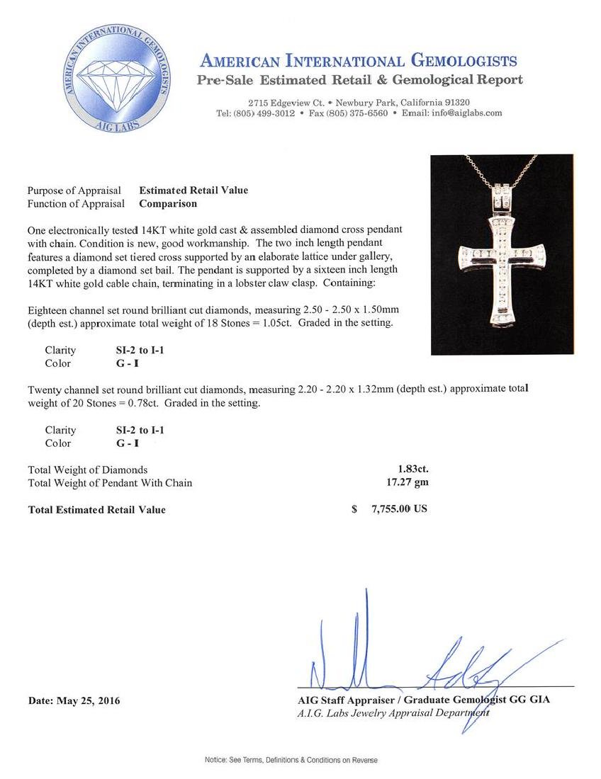 1.83 ctw Diamond Cross Pendant With Chain - 14KT White - 3