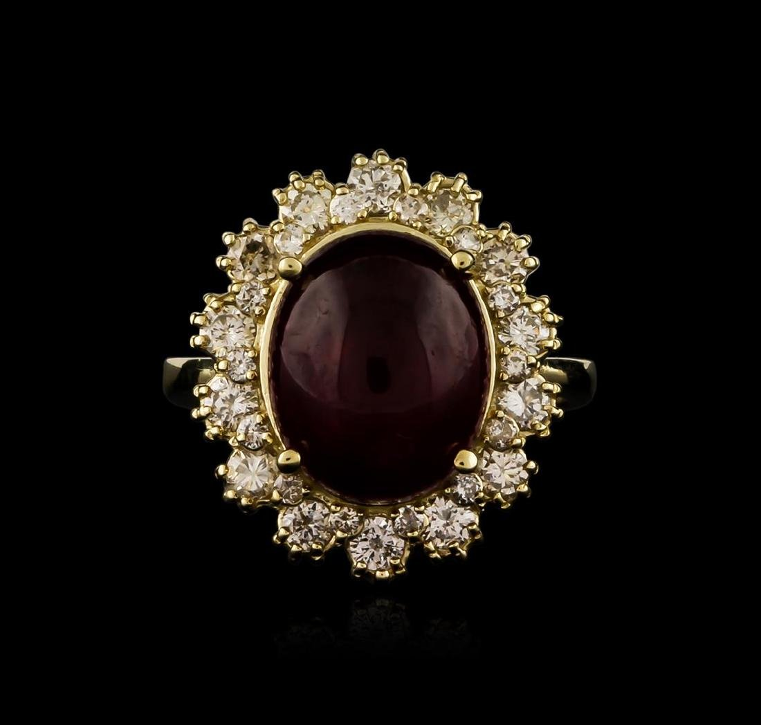 14KT Yellow Gold 7.61 ctw Ruby and Diamond Ring - 2