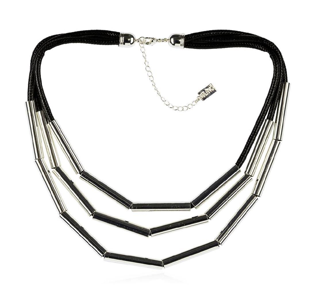 Strand Cord Necklace - Rhodium Plated - 2