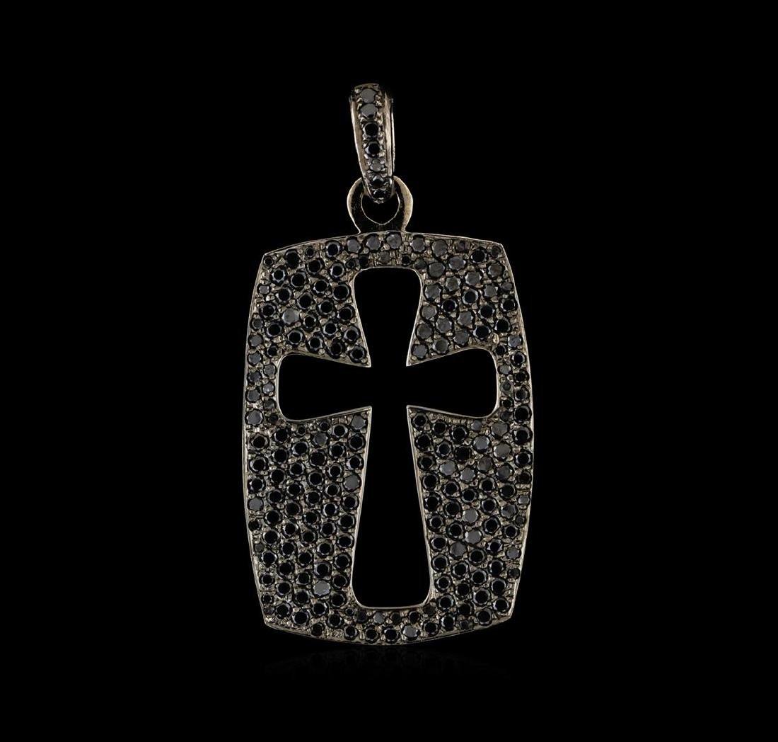 4.30 ctw Black Diamond Cross Pendant - 14KT White Gold
