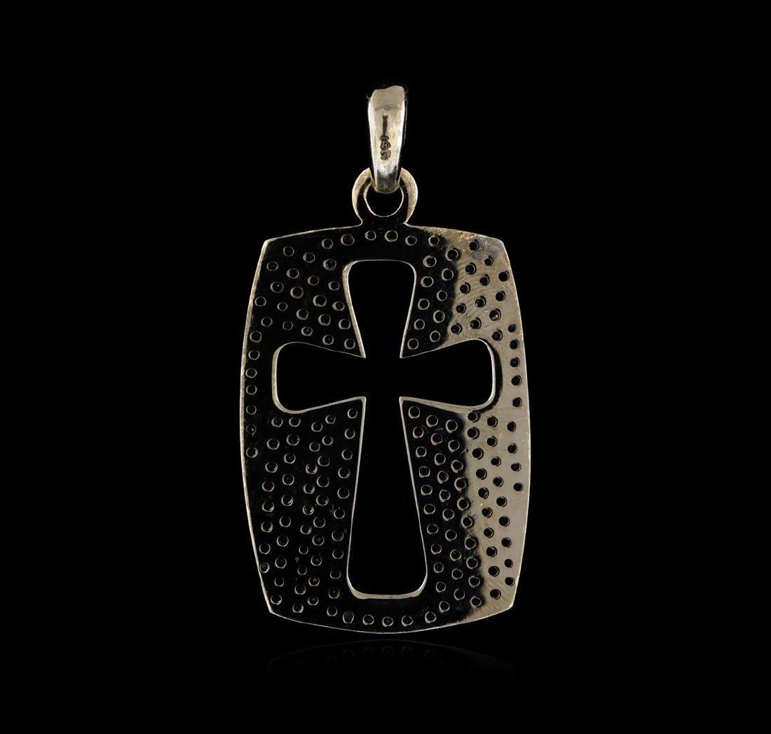 4.30 ctw Black Diamond Cross Pendant - 14KT White Gold - 2