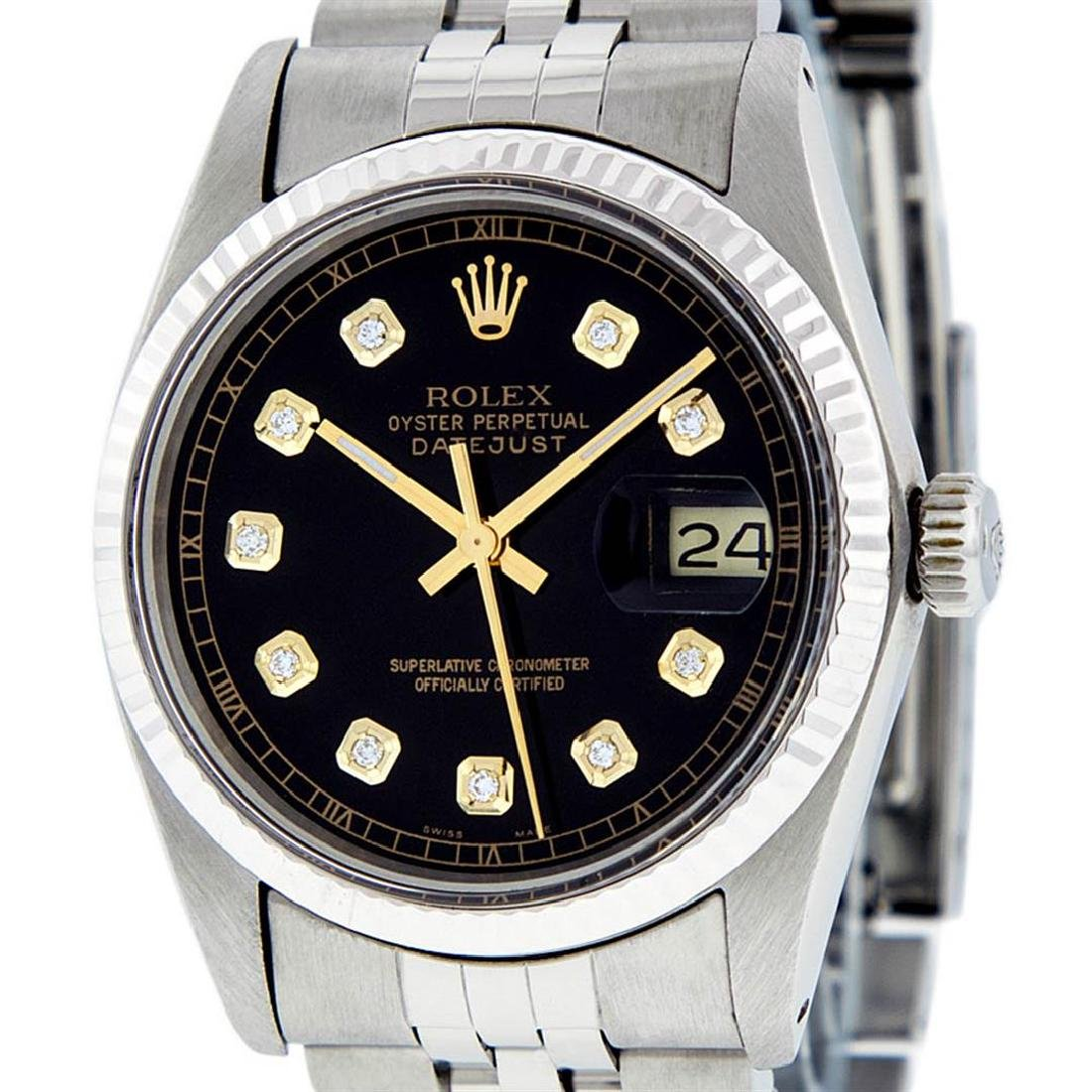 Rolex Mens Stainless Steel 36MM Black Diamond Datejust - 2