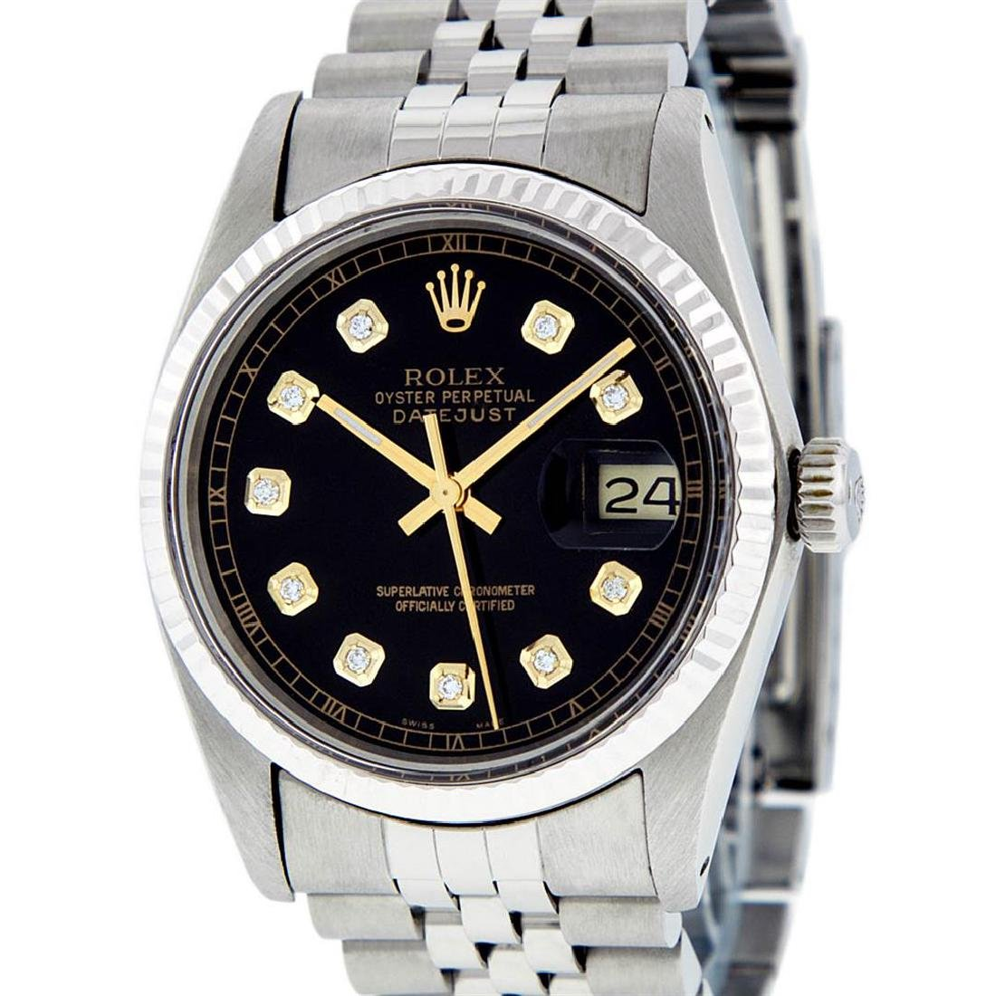 Rolex Mens Stainless Steel 36MM Black Diamond Datejust - 3