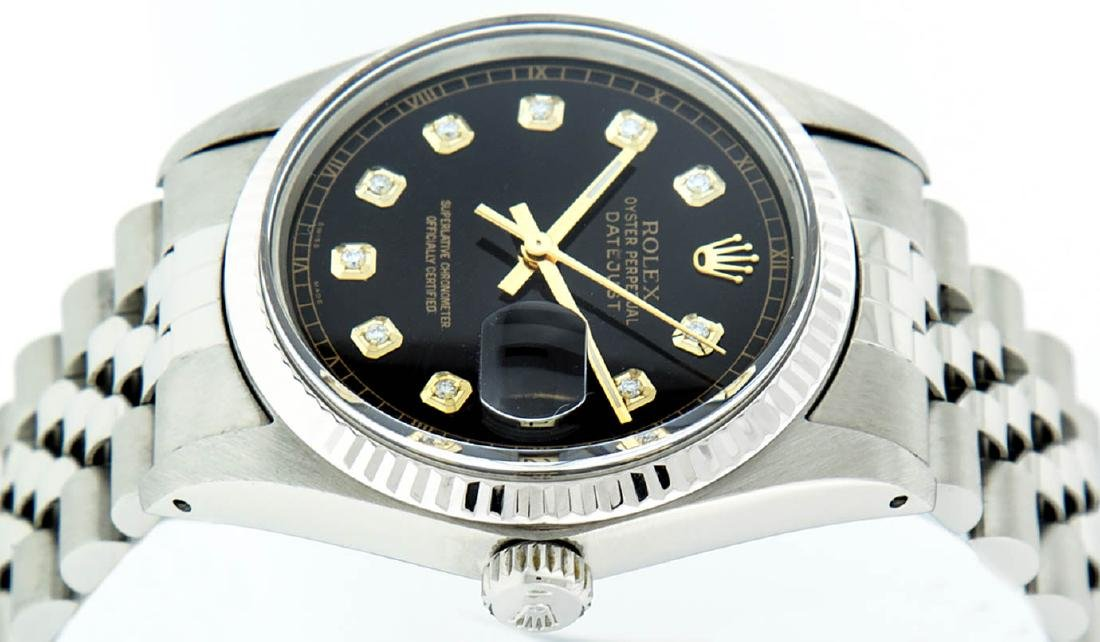 Rolex Mens Stainless Steel 36MM Black Diamond Datejust - 6
