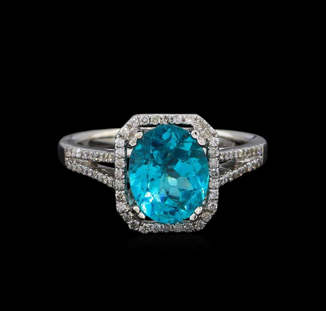 2.75 ctw Apatite and Diamond Ring - 14KT White Gold - 2