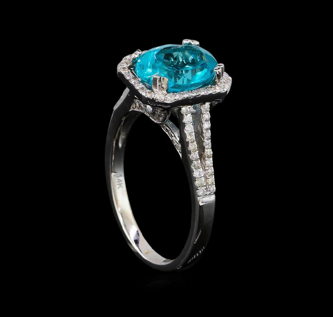 2.75 ctw Apatite and Diamond Ring - 14KT White Gold - 4
