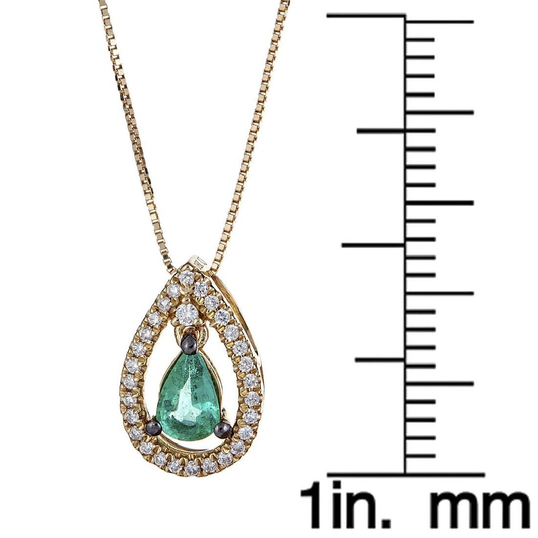 0.34 ctw Emerald and Diamond Pendant - 18KT Yellow Gold