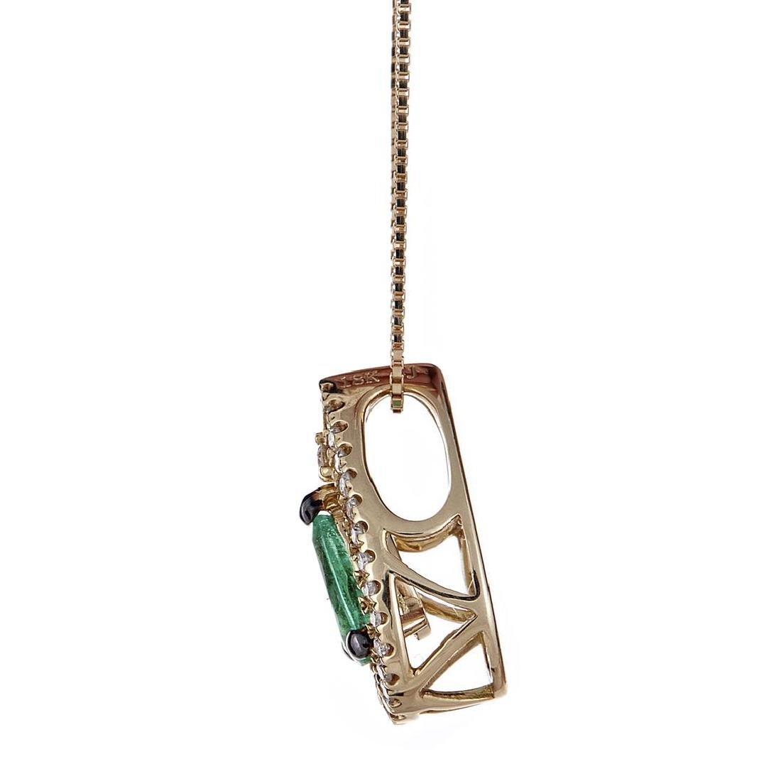 0.34 ctw Emerald and Diamond Pendant - 18KT Yellow Gold - 2