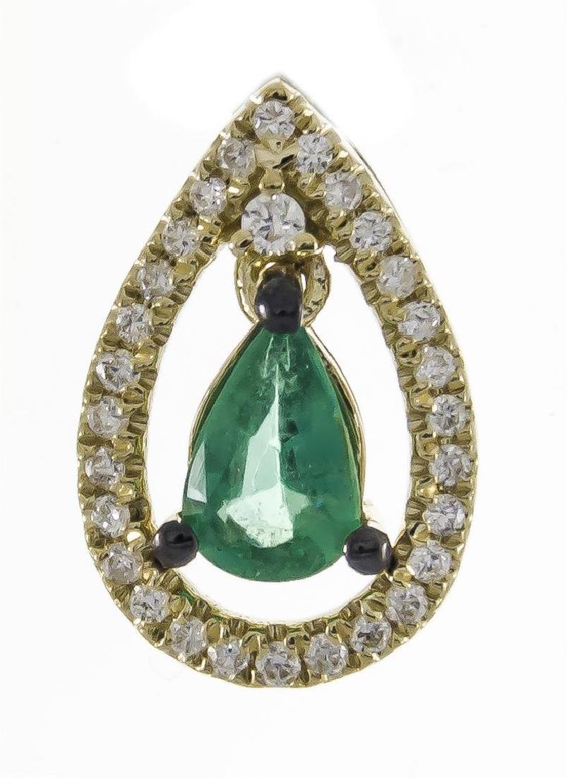 0.34 ctw Emerald and Diamond Pendant - 18KT Yellow Gold - 3