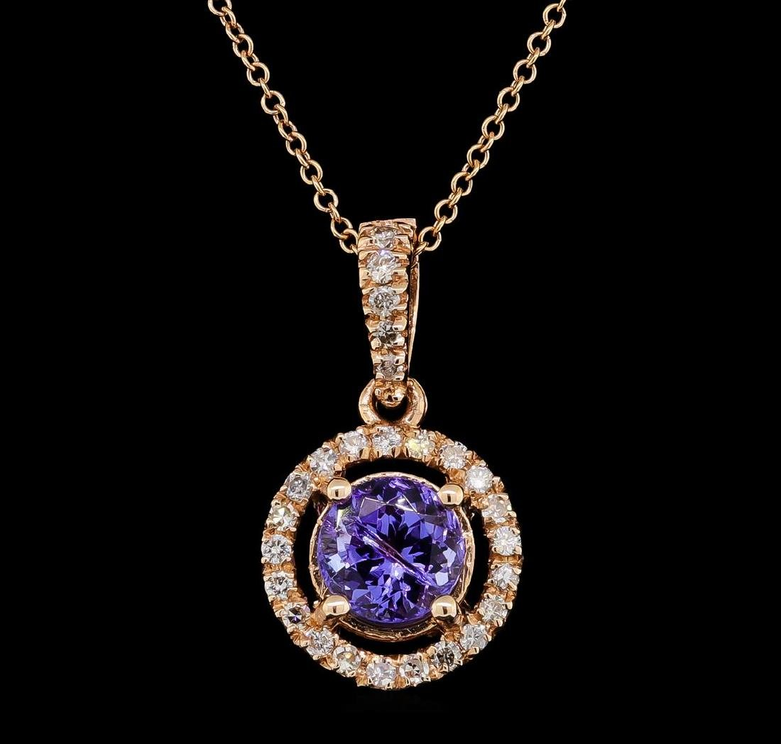 1.51 ctw Tanzanite and Diamond Pendant With  Chain -
