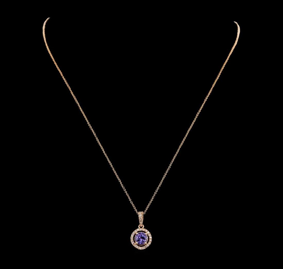 1.51 ctw Tanzanite and Diamond Pendant With  Chain - - 2