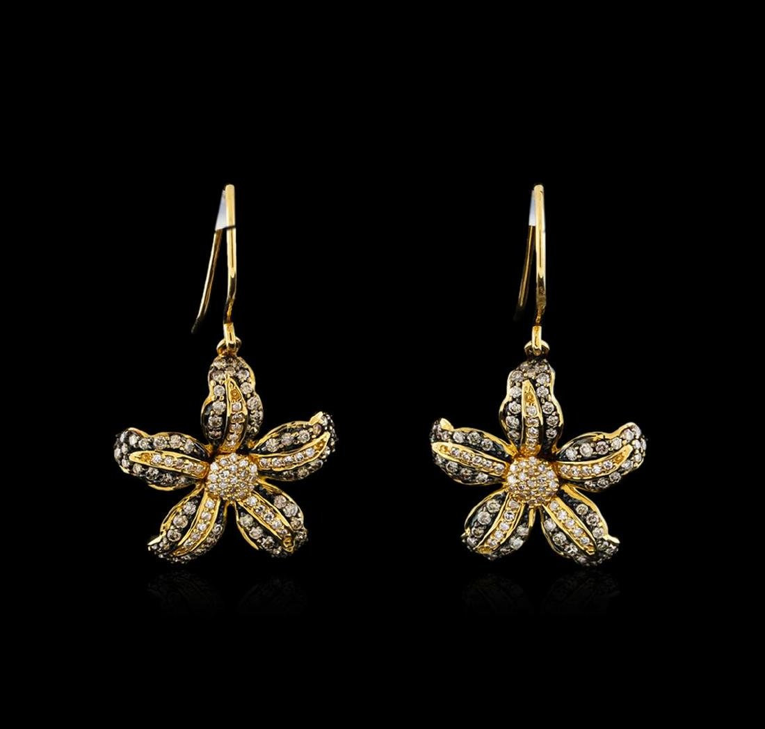 0.69 ctw Light Brown Diamond Earrings - 14KT Yellow