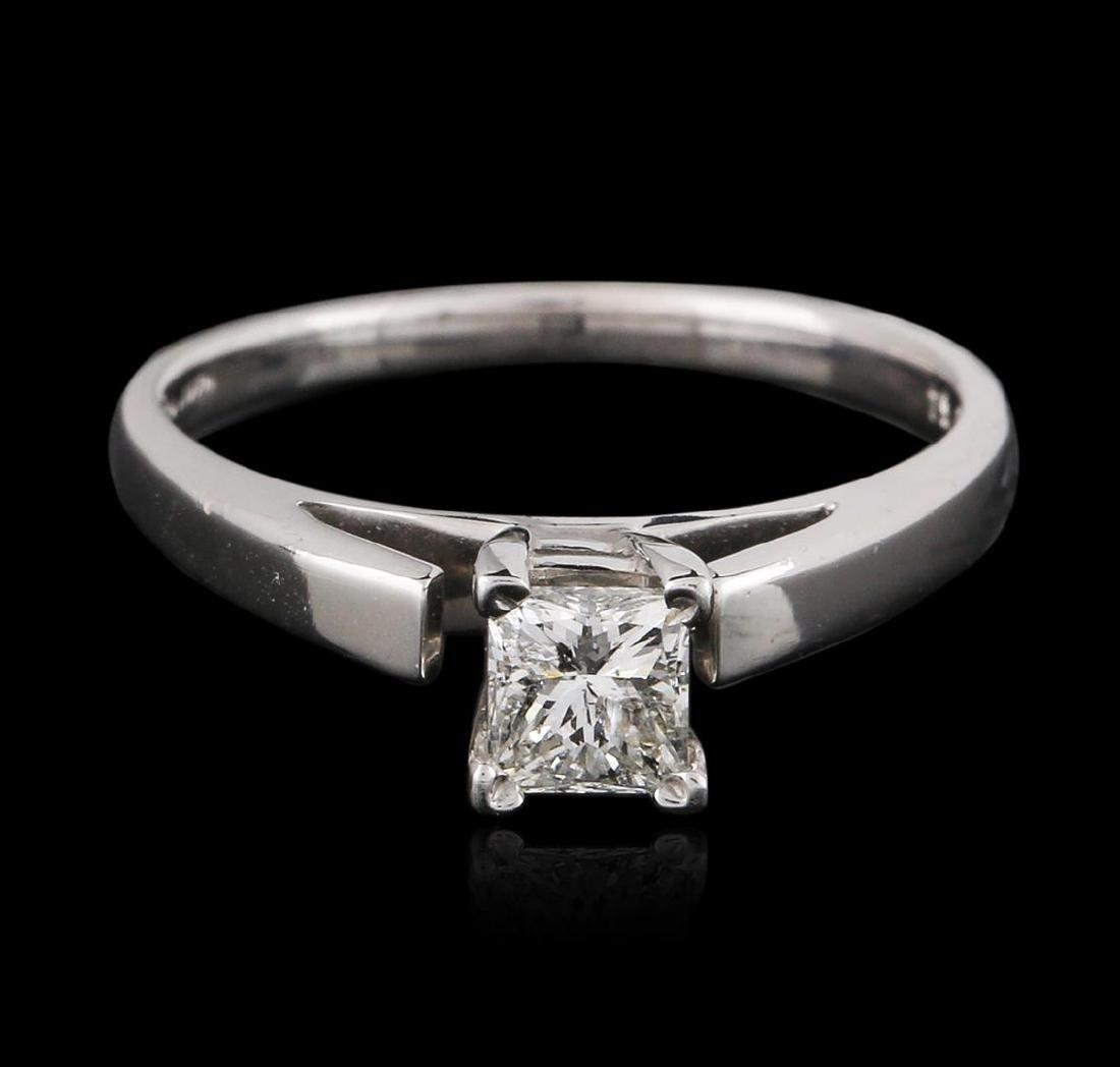 14KT White Gold 0.54 ctw Princess Cut Diamond Solitaire - 2